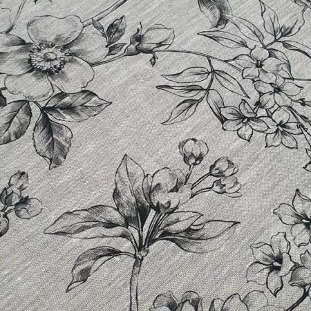 Toile de lin Isadora impression florale noir