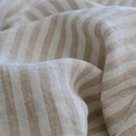 Toile de Lin lavé à rayures verticales blanches et écrues